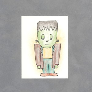 Kawaii Frankenstein's Monster Art Card by Wilde Designs