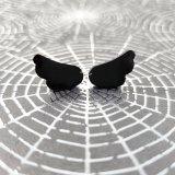 Cherub Angel Wing Earrings in Black