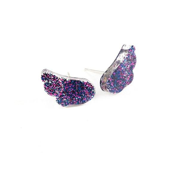 Galaxy Angel Wings Glittery Resin Earrings by Wilde Designs
