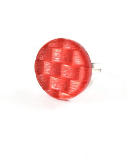 Red Basketweave Button Ring by Wilde Designs