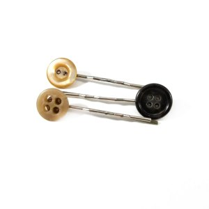Brown and Black Button Bobby Pin Set by Wilde Designs