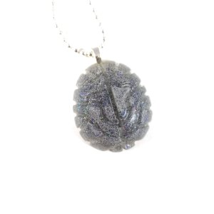 Sparkling Gray Matter Resin Necklace by Wilde Designs