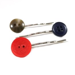 Brown, Navy and Red Button Bobby Pin Set by Wilde Designs