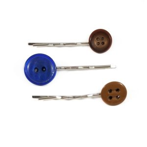 Chocolate and Blue Button Bobby Pin Set by Wilde Designs