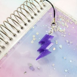Pearly Purple Lightning Bolt Charm by Wilde Designs