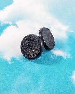 Large Black Button Earrings by Wilde Designs