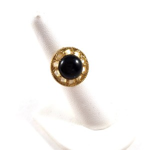 Retro Button Black and Gold 80s Ring by Wilde Designs