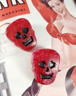Red Skull Resin Pin by Wilde Designs