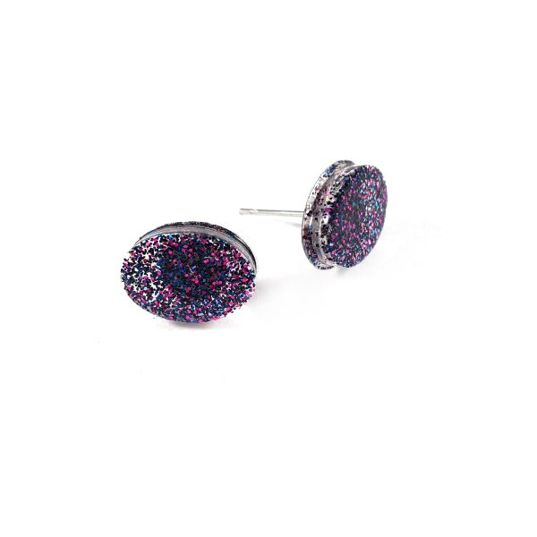 Galaxy Oval Glittery Resin Earrings by Wilde Designs