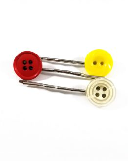 Red, Yellow and White Button Bobby Pin Set by Wilde Designs