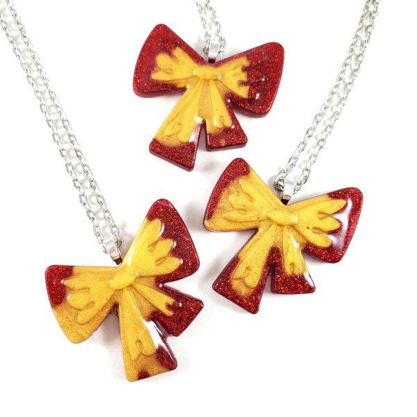 The Ultimate Gift Red and Gold Bow Necklace by Wilde Designs