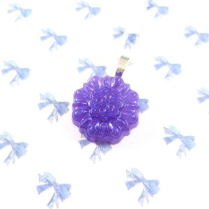 Small Glittery Purple Button Necklace by Wilde Designs