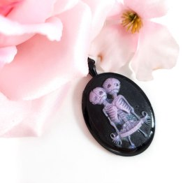 Two Headed Skeleton Cameo Necklaces by Wilde Designs