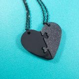 Black & Gray Heart Necklace Set by Wilde Designs