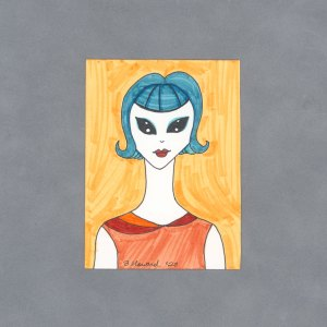 Alien Woman Art Card by Wilde Designs