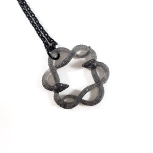 Serpent Circle Necklace in Gray by Wilde Designs