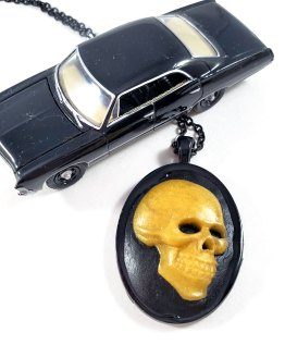 Gold Death's Head Cameo Necklace by Wilde Designs