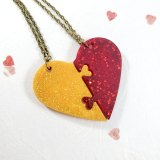 Gold & Red Heart Necklace Set by Wilde Designs