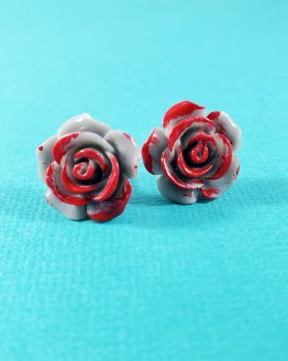 Paint Them Red Kawaii Rose Earrings by Wilde Designs