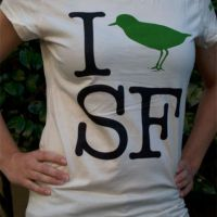 Ladies half-scoop I 'Bird' SF shirt in Natural Coton