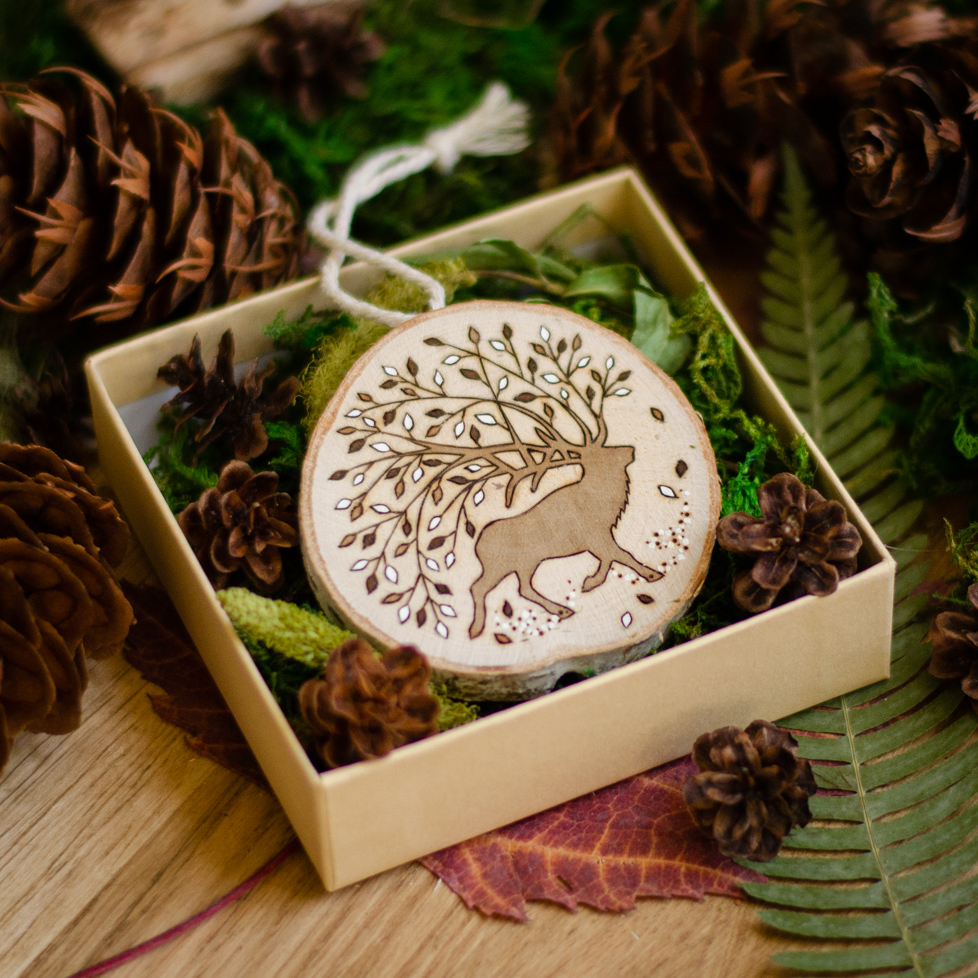 Package Box - Deer Wooden Ornament