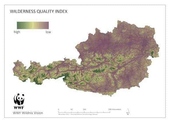 Wilderness Quality Index Austria 2012