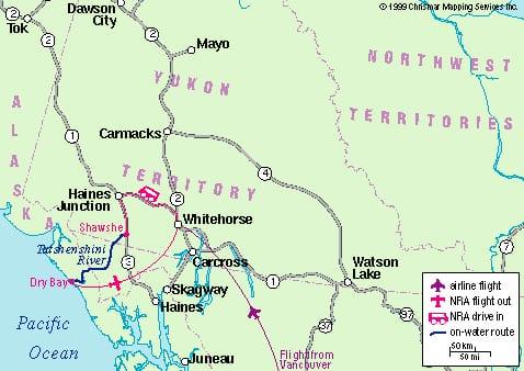 Tatshenshini River Map Colour