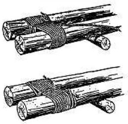 Example of lashings holding two posts together