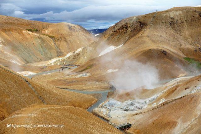 Paths up muddy ridges, Hveradalir hot spring valley, Kerlingarfjöll, Iceland