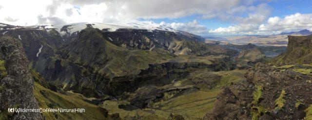 View from Útigönguhöfði over the Hvannárgil canyon, Thórsmörk, Iceland