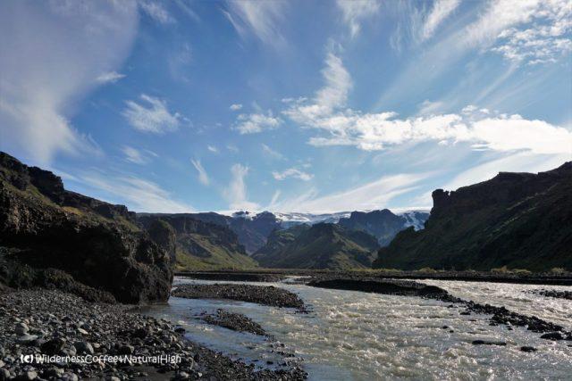 Krossá river and Mýrdalsjökull glacier, Þórsmörk, Iceland