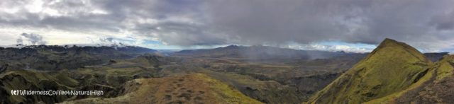 Panoramic view from the top of Rjúpnafell, Þórsmörk, Iceland