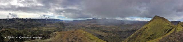 Panoramic view from the top of Rjúpnafell, Þórsmörk, Iceland