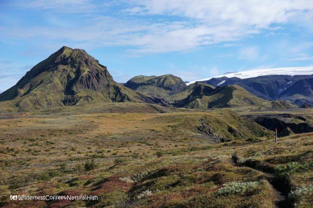 Path and rolling ridges, Rjúpnafell, hiking trail, Þórsmörk, Iceland