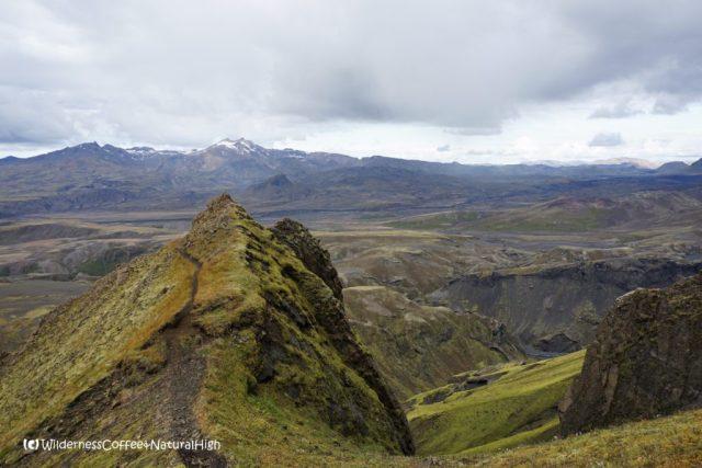 Upper path and ridge, Rjúpnafell, hiking trail, Þórsmörk, Iceland