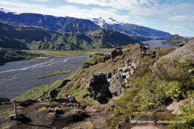 View over the valley, hiking trail, Þórsmörk, Iceland