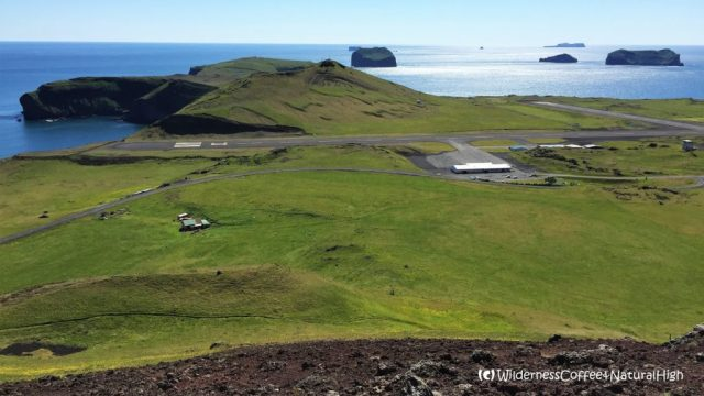 View to Heimeay airport from Helgafell volcano, Heimaey, Vestmannaeyjar, Iceland