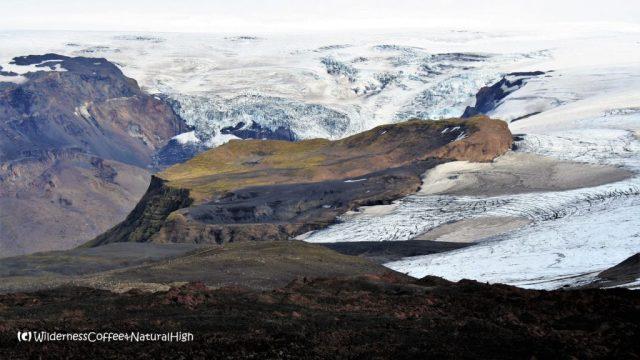 Frozen plateau and Katla glacier, Fimmvörðuháls walking route, Þórsmörk, Iceland