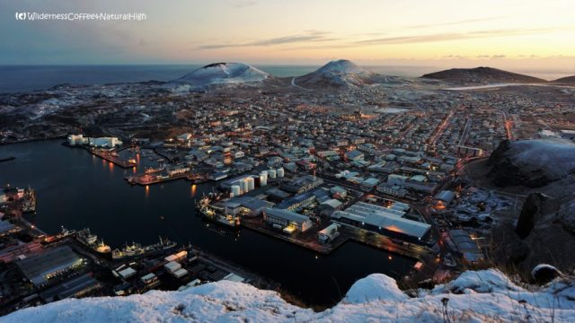 Sunset and winter view over Heimaey, Vestmannaeyjar, Iceland