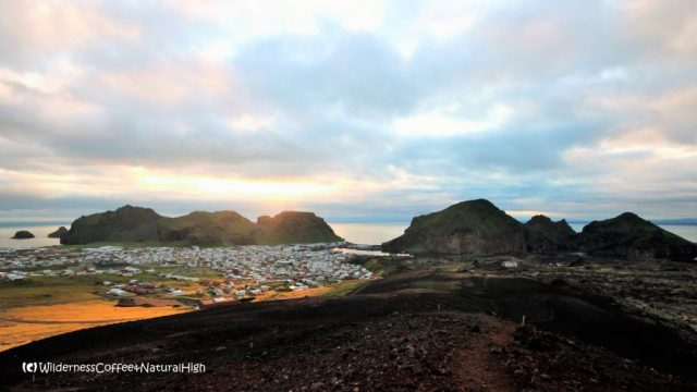 Midnight sunset on Heimaey, Vestmannaeyjar, Iceland