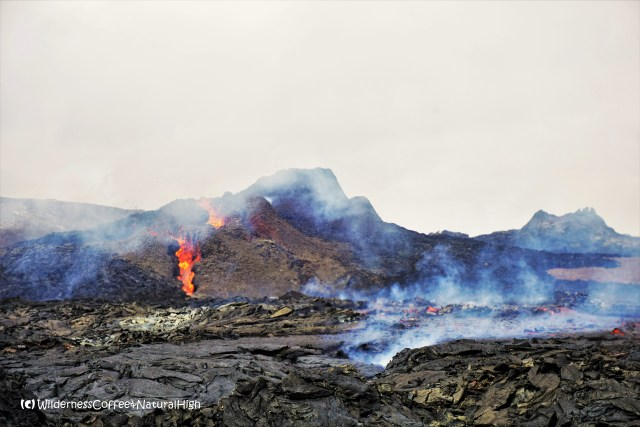 The triplets merging into one crater, Geldingadalur, Fagradalsfjall volcano, Iceland