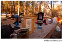 Morning coffee at camp at Manzanita Campground