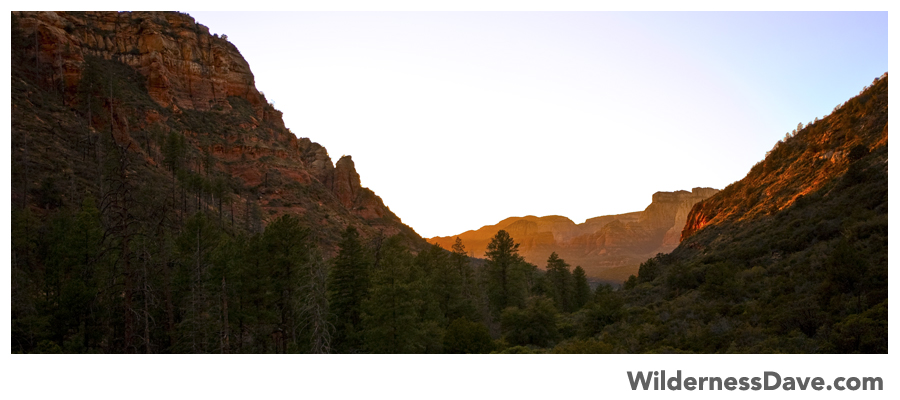 View of the late sunset from the base of Sterling Canyon