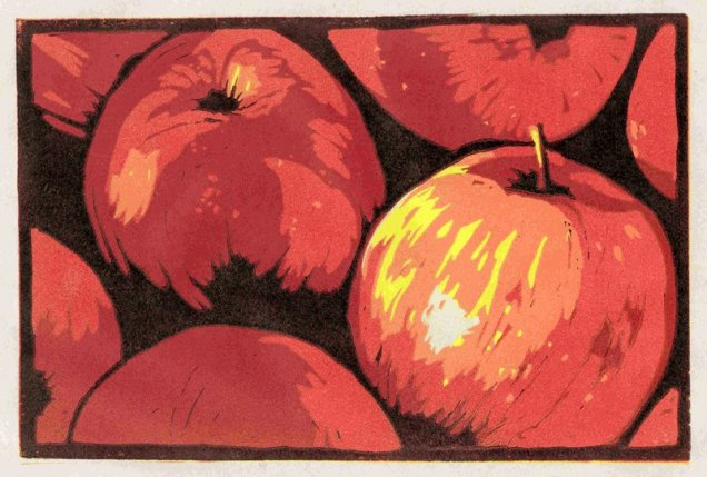 step-by-step progress of the apple print