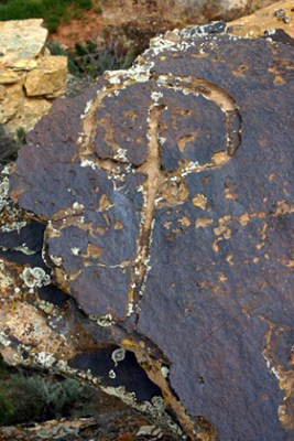 "Example of one of the mysterious petroglyphs referred to by some as ""water glyphs."""