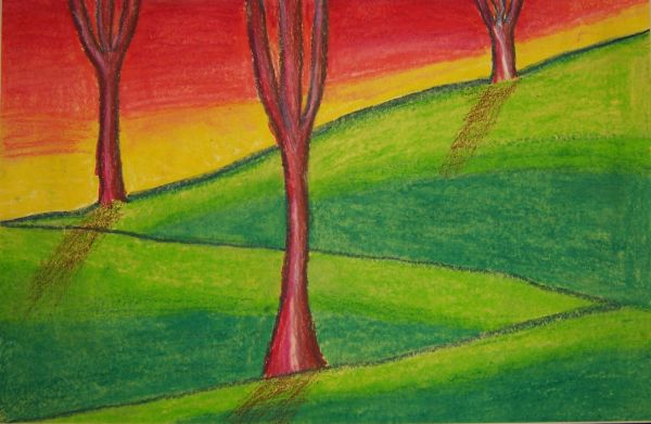 Easy Oil Pastel Landscape Drawings