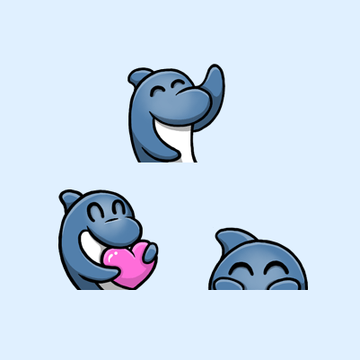Dolphin's Blue Dolphin Twitch Emotes