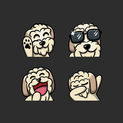 N3 Vapor's Dog Sad, Cop, Dab, Sellout, LUL, Lick Twitch Emotes designed by WildeThang