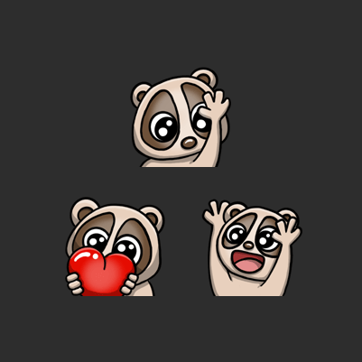 N3 Psycho's Slow Loris Love, Hype, Hi Twitch Emotes designed by WildeThang
