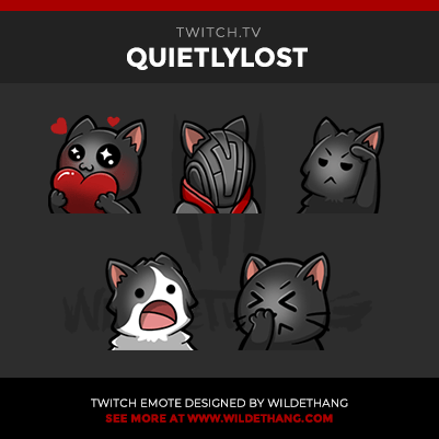 QuietlyLost's Kitty Cat love, facepalm, wut, warlock and salute Twitch Emotes